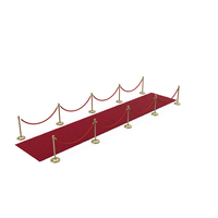 Gold Rope Barriers with Red Carpet Runners PNG & PSD Images