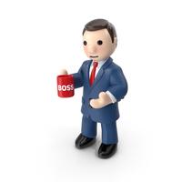 Cartoon Businessman with Tea Cup PNG & PSD Images