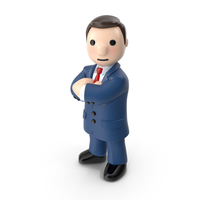 Cartoon Businessman with Arms Crossed PNG & PSD Images
