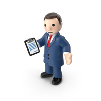 Cartoon Businessman with Pad PNG & PSD Images