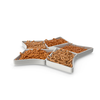 Compartment Bowl with Mixed Pretzels PNG & PSD Images