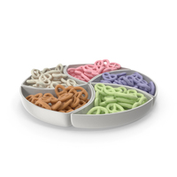 Compartment Bowl with Yogurt Covered Mini Pretzels PNG & PSD Images