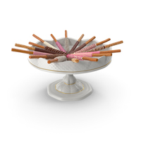 Fancy Porcelain Bowl with Assorted Dipped Pretzel Rods PNG & PSD Images