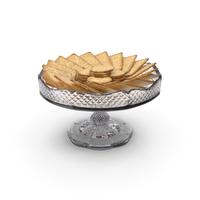 Small Fancy Crystal Bowl with Crackers PNG & PSD Images