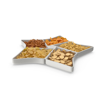 Star Compartment Bowl with Mixed Salty Snacks PNG & PSD Images