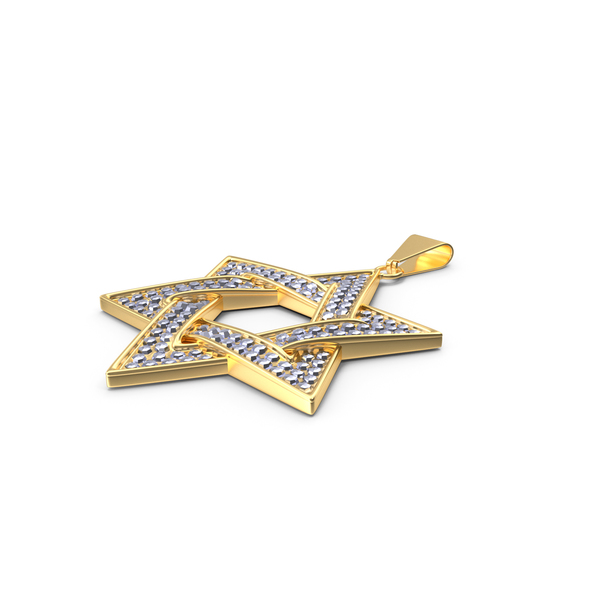 Star of David with Diamonds Gold PNG & PSD Images