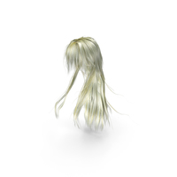 Long Blonde Anime Female Hairstyle PNG & PSD Images