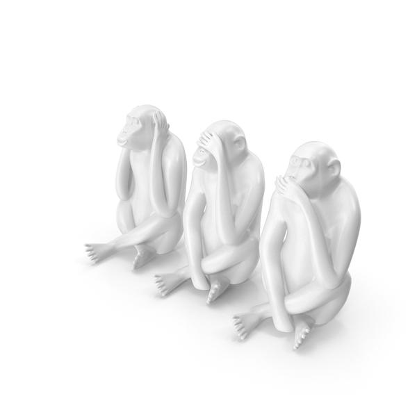 White Monkey Statues Set Sculpture PNG & PSD Images