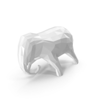 Low Poly White Elephant Sculpture PNG & PSD Images