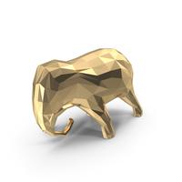 Low Poly Golden  Elephant Sculpture PNG & PSD Images