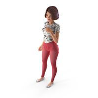 Cartoon Young Girl Standing Casual Clothes PNG & PSD Images