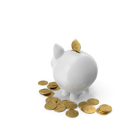 Piggy Bank with Gold Coins PNG & PSD Images