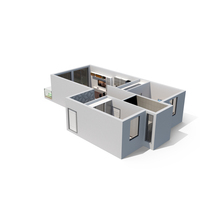 2 Beds Apartment Cross Section PNG & PSD Images
