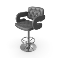 Tufted Leather Barstool With Armrests PNG & PSD Images