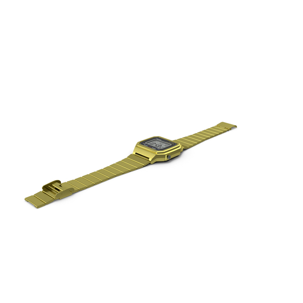 Golden Classic Electronic Watch PNG & PSD Images