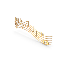 Golden Music Notes Waves PNG & PSD Images