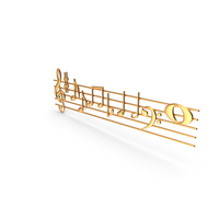 Golden Music Stave and Notes PNG & PSD Images