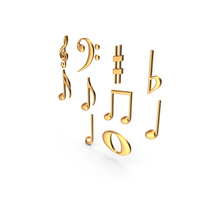 Golden Musical Notes PNG & PSD Images