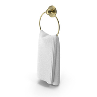 Gold Towel Ring with White Towel PNG & PSD Images