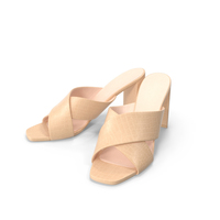 Women's Shoes Mules Beige Crocodile Leather PNG & PSD Images