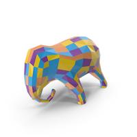 Multicolor  Elephant Sculpture PNG & PSD Images