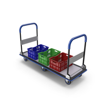 Market Service Cart with Crates PNG & PSD Images