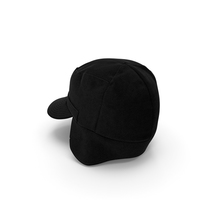 Black Military Field Cap with Earflaps PNG & PSD Images