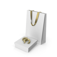 Set of White Gift Boxes with Earrings a Fabric Bag and Shopping Bag PNG & PSD Images