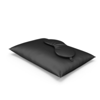 Set of Black Silk Pillow and Sleep Mask PNG & PSD Images
