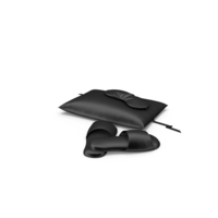 Set of Black Silk Pillow, a Sleep Mask and Slippers PNG & PSD Images