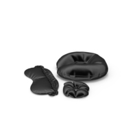 Set of Black Silk Travel Pillow a Sleep Mask and Scrunchie PNG & PSD Images
