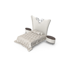 Elledue Luxury Art deco Bed and Nightstands PNG & PSD Images