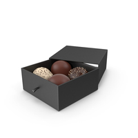 4 Assorted Chocolate with Black Gift Box PNG & PSD Images