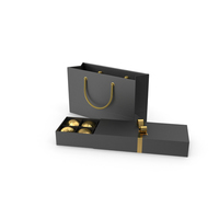 Black Gift Box with Chocolate and Paper Bag PNG & PSD Images