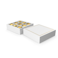 White Square Gift Box with Chocolates PNG & PSD Images