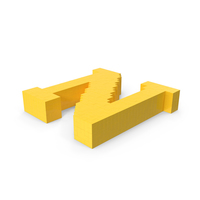 Stylised Cartoon Voxel Pixel Art Letter N on Ground PNG & PSD Images