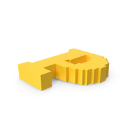 Stylized Cartoon Voxel Pixel Art Letter P On Ground PNG & PSD Images