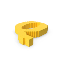 Stylized Cartoon Voxel Pixel Art Letter Q On Ground PNG & PSD Images