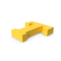 Stylised Cartoon Voxel Pixel Art Letter T on Ground PNG & PSD Images