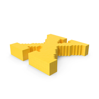 Stylised Cartoon Voxel Pixel Art Letter X on Ground PNG & PSD Images