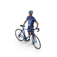 Cyclist Athlete in Blue Suit with Bicycle PNG & PSD Images