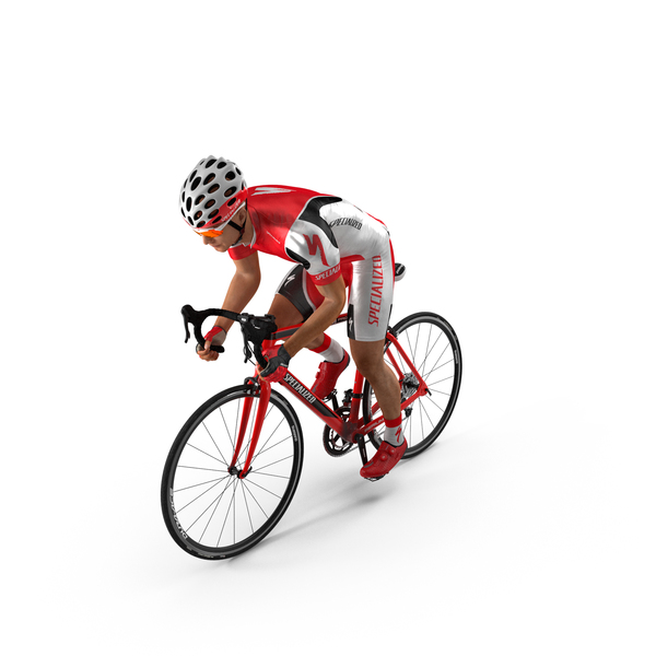 Cyclist Athlete in Red Suit on Bicycle PNG & PSD Images