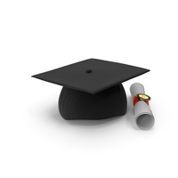 Degree Scroll and Graduation Cap PNG & PSD Images