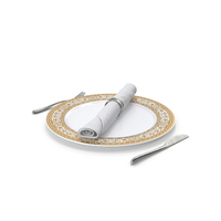 Empty Plate And Silverware Set PNG & PSD Images