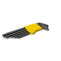 5 Piece Long Arm Ball Hex Key Wrench Set PNG & PSD Images