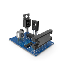 Active Electronics Components on Circuit Board PNG & PSD Images