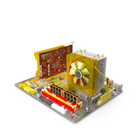 GA-EP45-DQ6 Motherboard with GV-N220OC Video Card PNG & PSD Images
