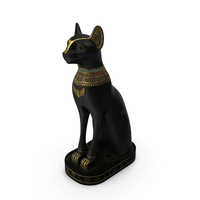 Ancient Egyptian Cat Statue Black PNG & PSD Images