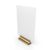 White Desk Paper Banner with Gold Stand PNG & PSD Images