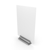 White Desk Paper Banner with Silver Stand PNG & PSD Images